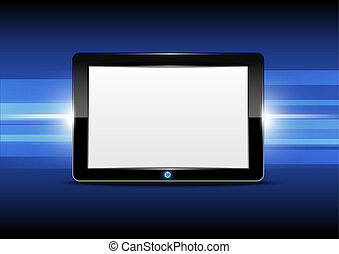 Tablet computer with shiny background