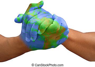planeta, terra, pintado, homem, mãos