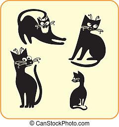 Black cats - vector set Vinyl-ready EPS