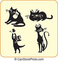 Black cats - vector set. Vinyl-ready EPS.