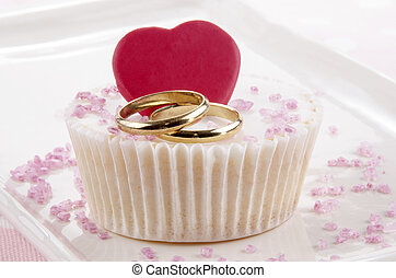 wedding cupcake with red heart