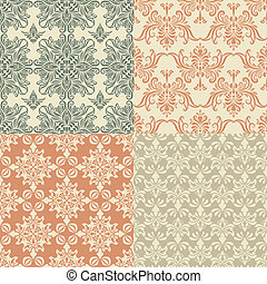 Vector Seamless Vintage Wallpaper Patterns - vector seamless...
