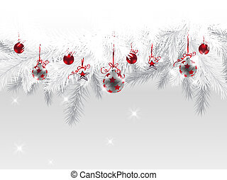 Christmas background - Fir branches decorated with Christmas...