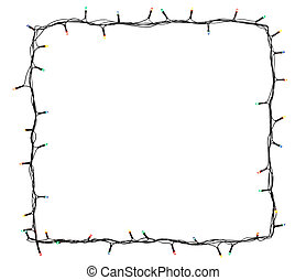 Christmas lights frame isolated on white background with copy space