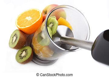 Hand blender and fresh fruits - Blender and fresh fruit,...