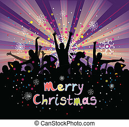 Set of group peoples dance vector. Christmas flyer