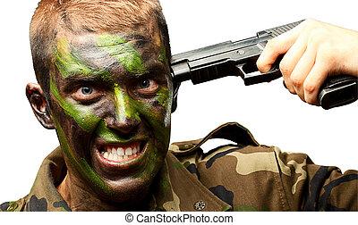 Soldier Putting Gunshot On Head On White Background