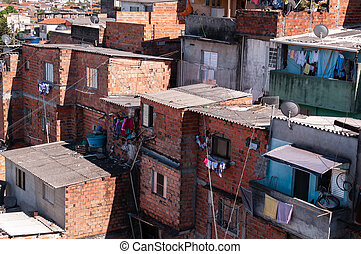 Shacks in the slum in Sao Paulo - Shacks in the slum in a...