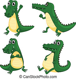 crocodiles - illustration of crocodiles on a white...