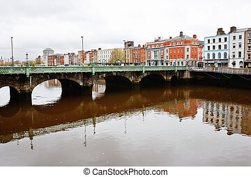 Liffey River Dublin, Ireland - Grattan Bridge over Liffey...
