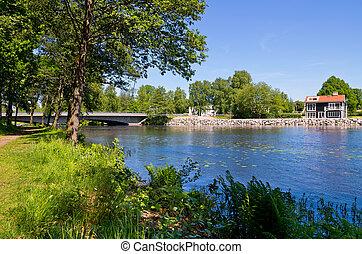 Stromsnasbruk. Sweden - Lagan river in Stromsnasbruk....