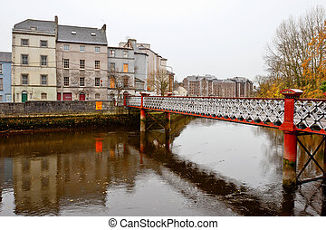 St. Vincent's footbridge. Cork, Ireland - View of Cork. St....