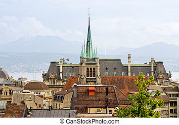 City view of Lausanne, Switzerland - Spire of St Francois...