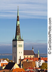 Old town. Tallinn, Estonia - St Olaf (Oleviste) Church....