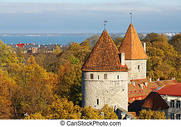 Two Towers. Tallinn, Estonia - Two defence towers in city...