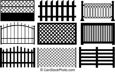 fences - set of different fences isolated on white