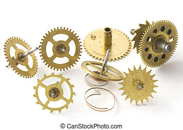 Gears hours - The mechanism of hours on a white background...