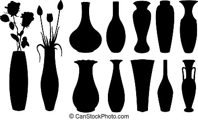 vase set - set of different vases isolated on white