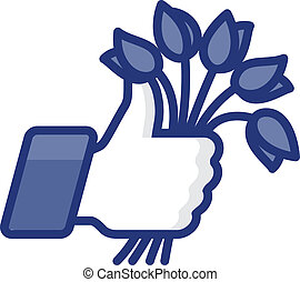 Thumb Up icon with flowers, vector Eps8 image