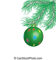 Green New Year's ball and fur-tree branch.Vector illustration