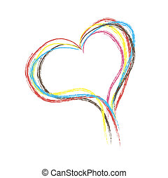 stract heart made of colored lines . Vector illustration -...