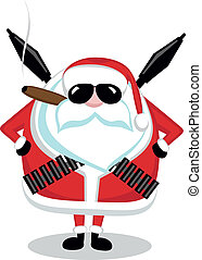 Bad Santa - Funny cartoon Santa with ammunition, cigar and...