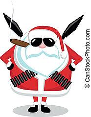 Bad Santa - Funny cartoon Santa with ammunition, cigar and...