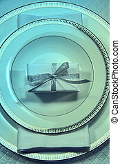 Christmas place setting with gift - Christmas place setting...