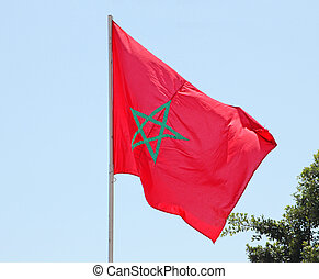 Flag of Morocco fluttering in the wind