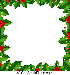 Border With Holly Berry, Isolated On White Background With...