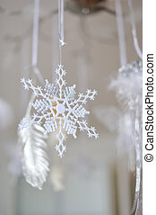 snowflakes - hanging Christmas decoration snowflake on a...