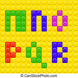 Alphabet construction lego brick blocks 3 - Vector Children...