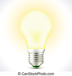 Lighted Energy saving bulb lamp - Vector Lighted Energy...