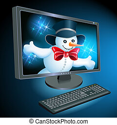 Monitor and keyboard with Snowman