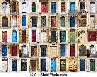 The doors from Malta. - A photo collage of 50 colourful...