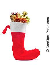 santa claus sock full of gifts on a white background