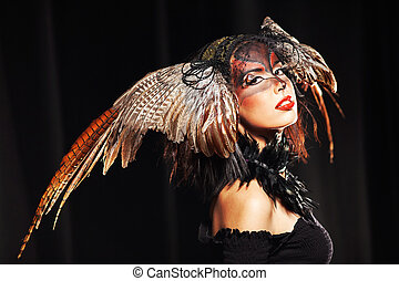 pheasant fantasy hat on beauty head with make-up - Pheasant...