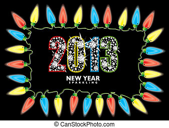 New year 2013 fairy lights - Bright fairy lights with 2013...