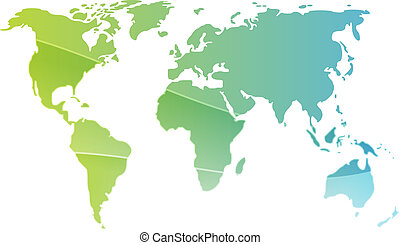Map of the world illustration, simple outline gradient...