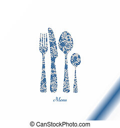Cutlery with floral decorations