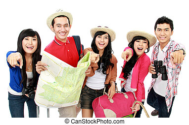 groups of tourists - Happy tourists pointing to camera and...