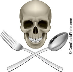 Human Skull with a Spoon and Fork Illustration for design