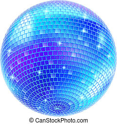 Mirror Disco Ball - Blue Disco Ball on white background for...
