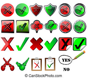 tick and cross signs right and wrong button signs pencil...