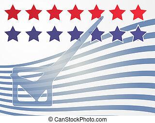 USA election voting illustration - Checkmark over stars and...