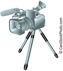 camcorder on a tripod isolated on white background