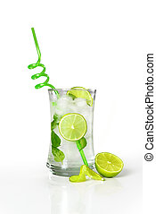 Refreshing cold mojito drink with fresh lime slices and ice