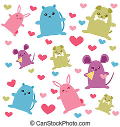 cute animals pattern - is an illustration in a EPS file.