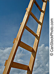 Ladder wooden - New wooden ladder on a background of the sky...