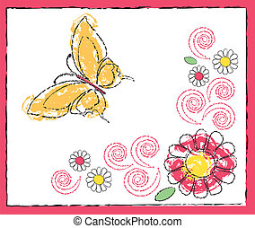 drawing of butterfly and flowers - Is a illustration in a...